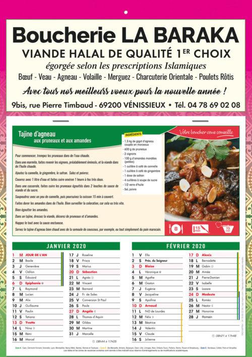 Calendriers recettes pour boucherie (1 couleur)