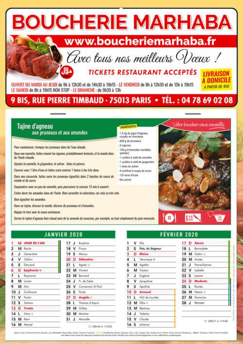 Calendriers recettes pour boucherie (4 couleur)