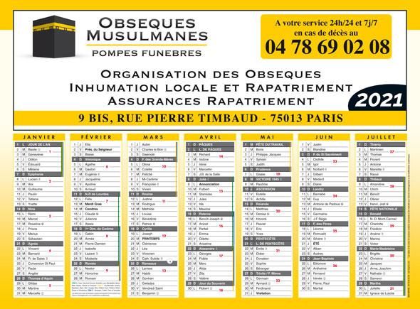 Calendrier de Banque français A4